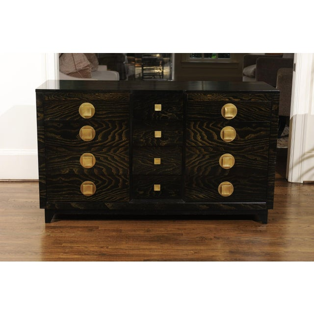 Sublime Restored Cerused Oak and Brass Commode by John Stuart, Circa 1950 For Sale - Image 9 of 13