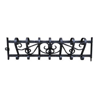 Antique Wrought Iron Wall Mount Coat Rack For Sale