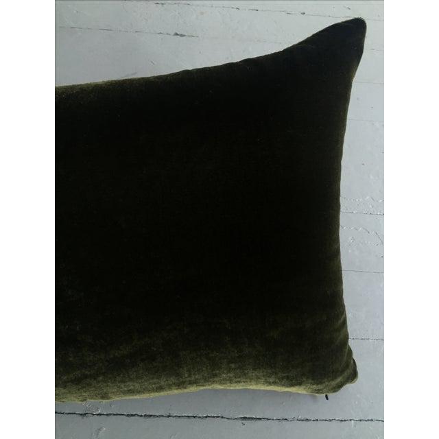 Moss Green Silk Velvet Lumbar Pillow Cover For Sale - Image 5 of 10
