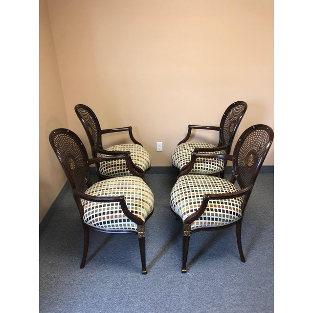 1990s Vintage Oval Caned Back Regency Style Arm or Dining Chairs- Set of 4 For Sale - Image 4 of 13