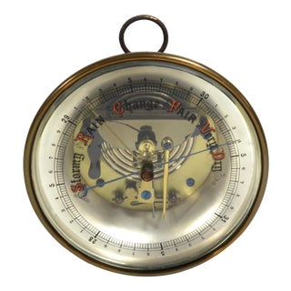 Antique Brass Table or Wall Barometer For Sale