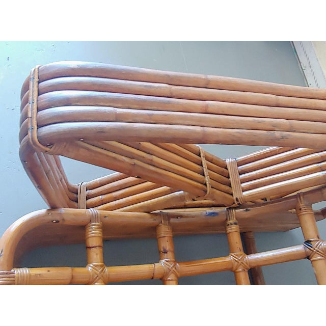 Wood Mid 20th Century Paul Frankl Style Swoop Seat Rattan Lounge Chair For Sale - Image 7 of 13