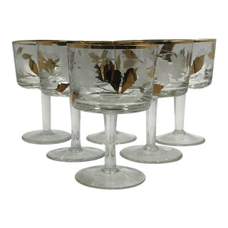 Mid Century Coupes Frosted, Etched and Cut Glass With Hand Applied Gold Leaf - Set of 6 For Sale