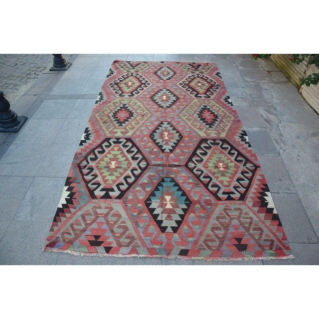 Turkish Vintage Kilim Rug - 4′11″ × 9′4″ - Image 2 of 6