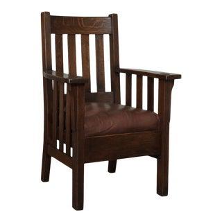 Antique Mission Oak Slatted Armchair For Sale