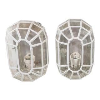Glashütte Limburg Faceted Glass Sconces - a Pair For Sale