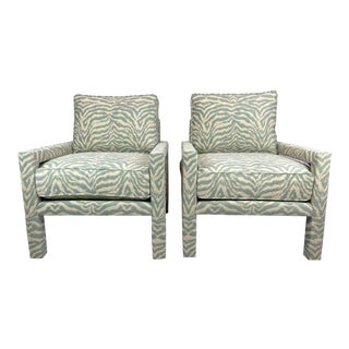 New Pair of Milo Baughman Style Parsons Chairs in Designer Celadon Zebra Fabric For Sale