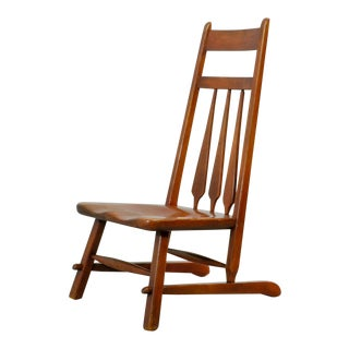 Early 20th-Century Design Solid Maplewood Spindleback Side Lounge Chair by Herman de Vries for Cushman Vermont, USA 1930s