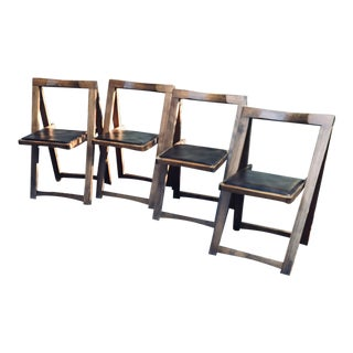 Vintage Mid Century Modern Wooden Folding Chairs- Set of 4 For Sale