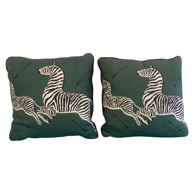 Scalamandre Green Jumping Zebra Pillows - A Pair For Sale