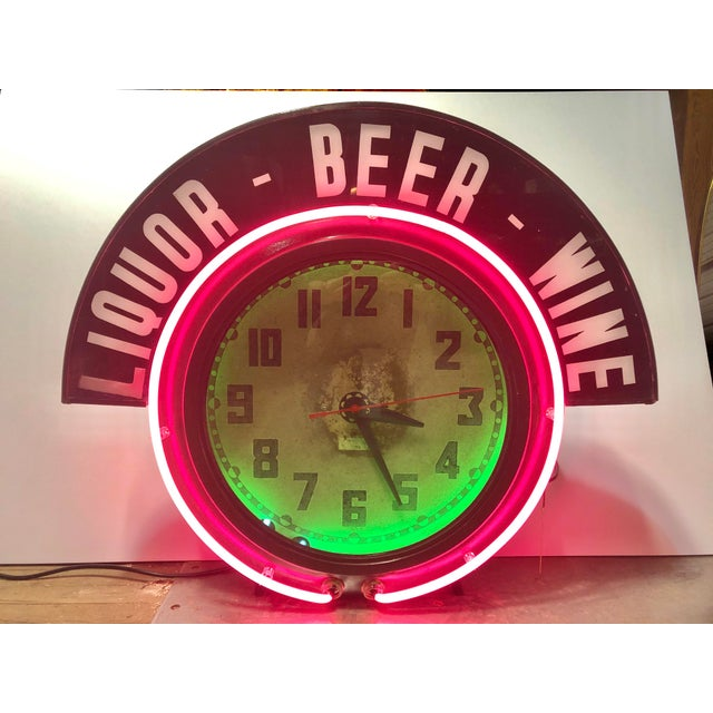 Industrial Neon Clock For Sale - Image 3 of 8
