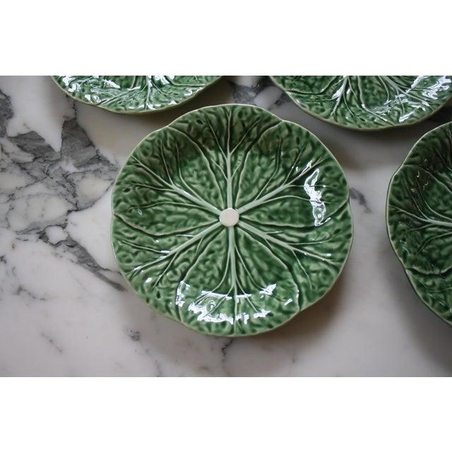 Set of 4 Bordallo Pinheiro Green & White Majolica Style Cabbage Salad Plates For Sale - Image 4 of 10