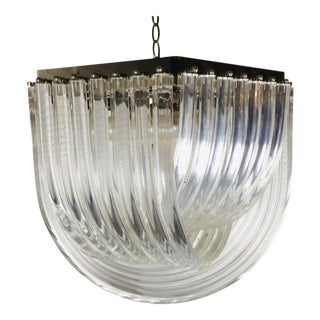 Square Mid Century Lucite Domed Ribbon Chandelier For Sale