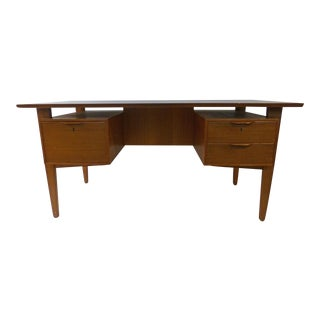 1950s Danish Modern Teak Desk With Floating Bookshelves