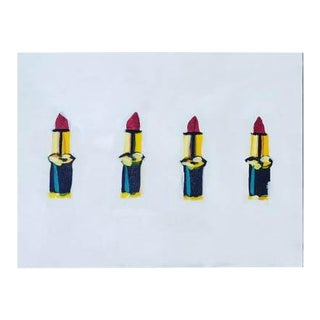 2010s Pop Art Acrylic Painting, Lipstick Lovers Chic For Sale