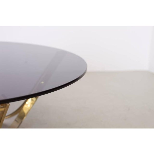Brass and Smoked Glass Coffee Table by Tri-Mark, circa, 1971 For Sale - Image 6 of 8