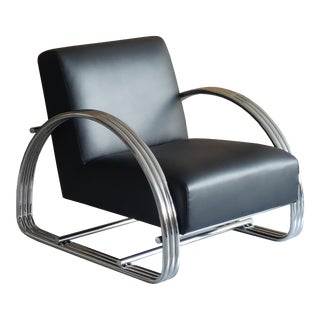 Pasargad Home Concord Modern Black Lounge Chair For Sale