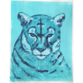 Contemporary Cougar Mountain Lion Painting by Cleo Plowden For Sale