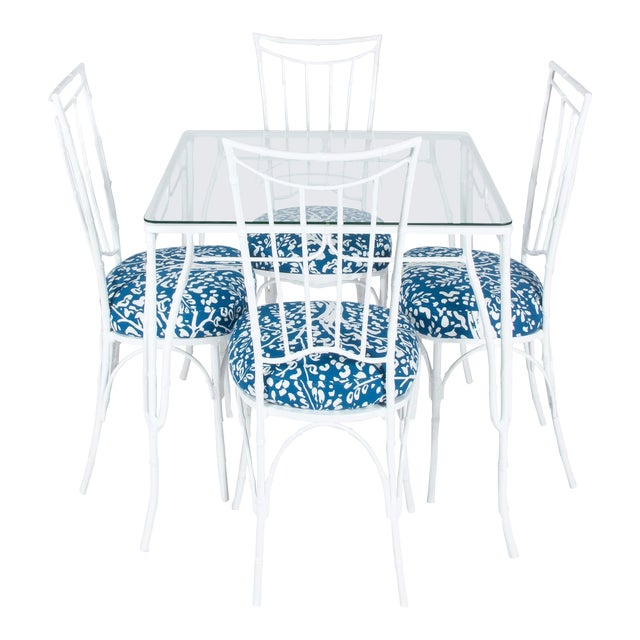 Chinoiserie White Powder-Coated Metal Faux Bamboo Dining Set For Sale