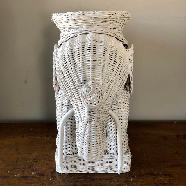 Vintage White Wicker Elephant Side Table For Sale - Image 4 of 7