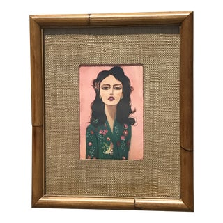 Vintage Bamboo Picture Frame Mel Remmers Print For Sale