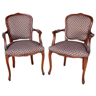 French Style Mahogany Arm Chairs - a Pair