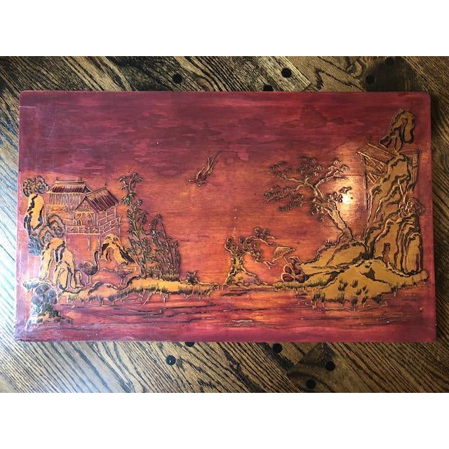 Antique Chinese Painted Wood Panel For Sale - Image 4 of 4