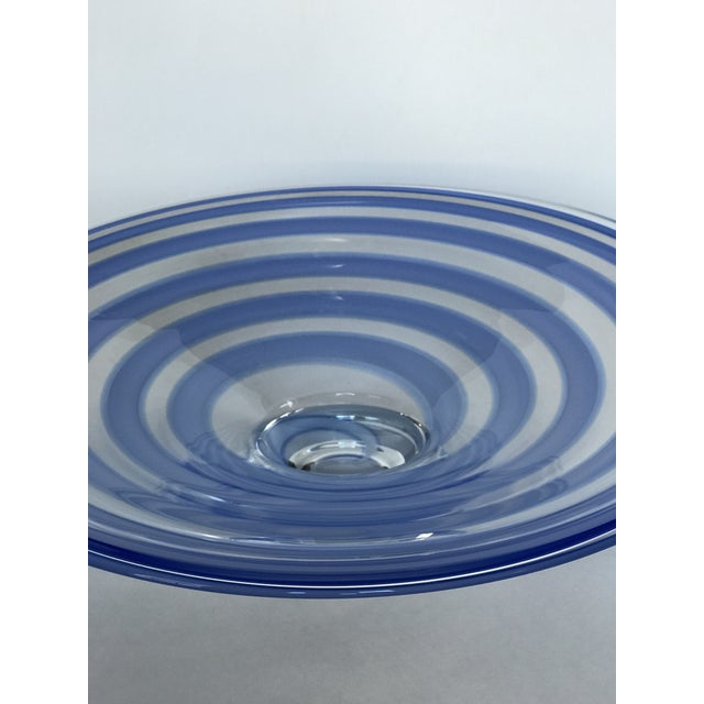 Art Glass Large Blue Swirl Art Glass Footed Centerpiece Bowl For Sale - Image 7 of 9
