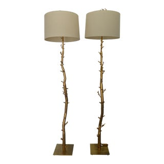 Whimsical Brass Tree Branch Floor Lamps - a Pair For Sale