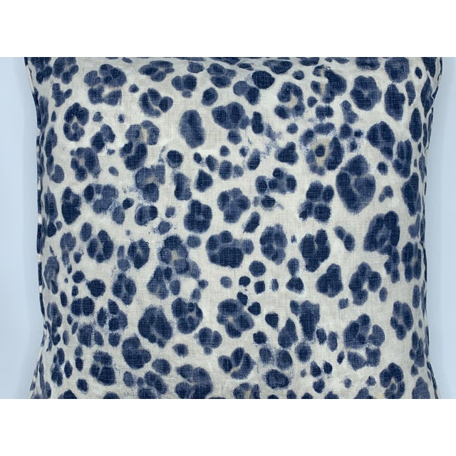 Modern Thibaut 'Panthera' Blue and White Panther Motif on Linen Pillows, Pair For Sale - Image 3 of 8