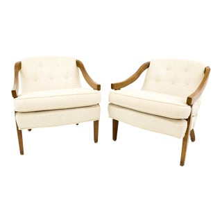 Mid Century Cream and Gold Patterned Barrel Back Chairs - a Pair For Sale