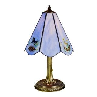Vintage Spelter & Slag Glass Butterfly Design Table Lamp For Sale