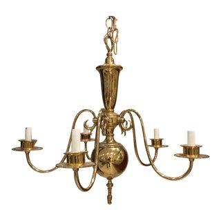 1990s Georgian Style Brass Five Arm Chandelier For Sale