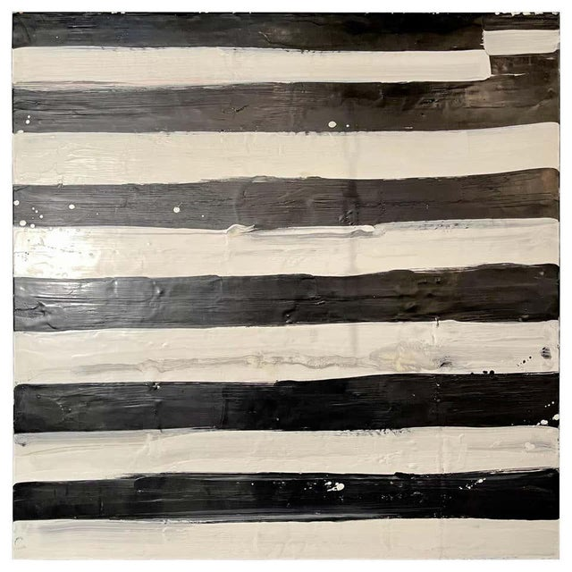 "Lynn Basa Encaustic Black and White Stripe Panel ""Not So Simple"" 2012 For Sale - Image 12 of 12"