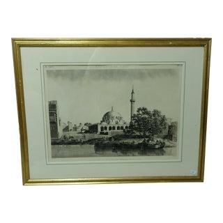 "Antique Paris ""Egyptian Mosque"" Engraving Print"