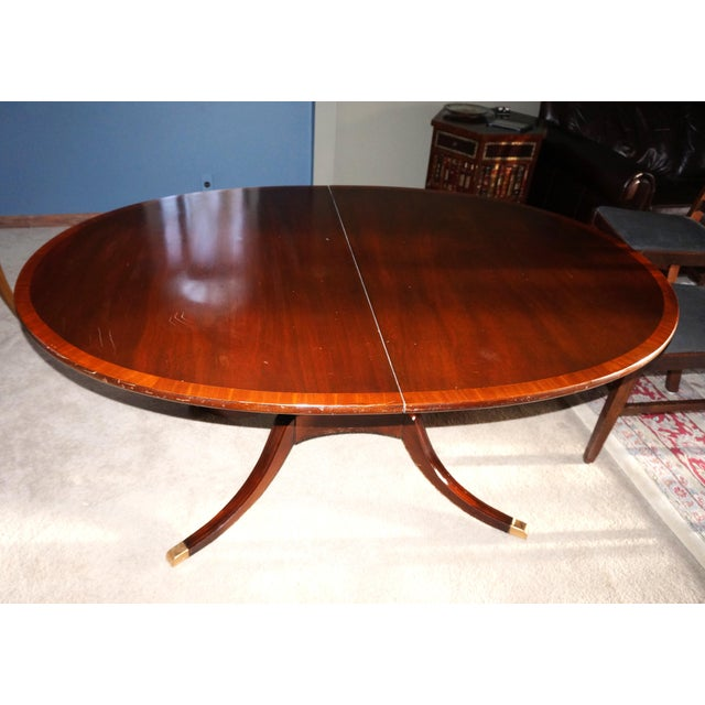 Banded Mahogany Pedestal Dining Table Chairish - 28 wide dining table