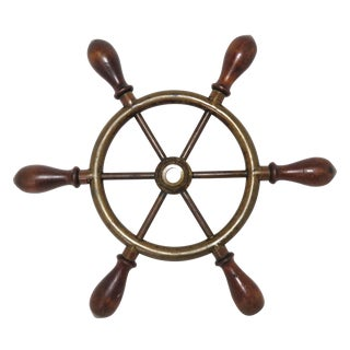 Antique Brass & Wood Ships Wheel For Sale