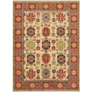 Kazak Garish Emery Ivory/Red Wool Rug - 5'6 X 7'8 For Sale