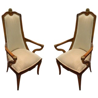 Pair of Italian Ormolu Mounted Neoclassical Beech Armchairs, Early 20th Century For Sale