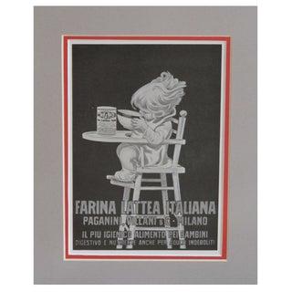 "1920s Matted Italian Ad ""Farina Lattea"""