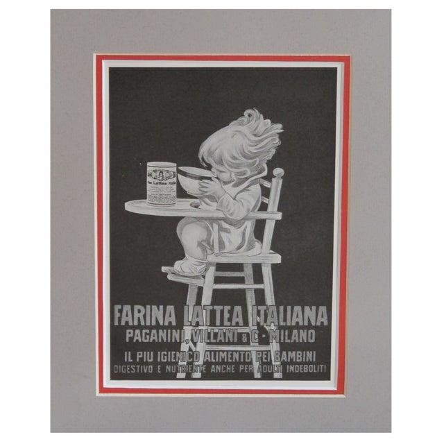 "1920s Matted Italian Ad ""Farina Lattea"" - Image 1 of 3"
