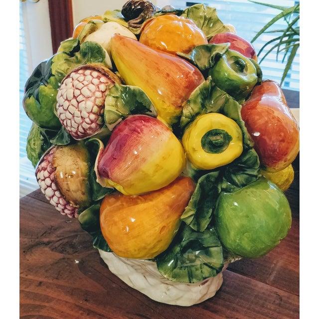 Vintage Majolica Intrada Italian Ceramic Fruit & Vegetable Oversized Basket Pottery Centerpiece For Sale - Image 9 of 12