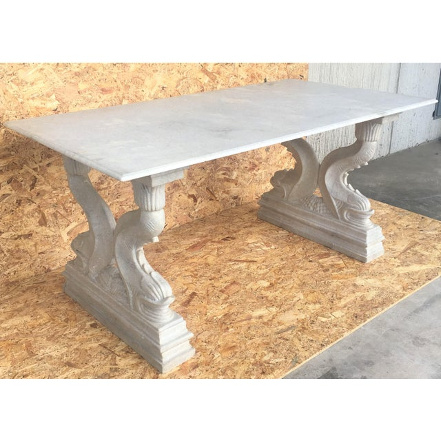 Baroque 19th Italian Center or Dining Table in Carrara Marble For Sale - Image 3 of 13
