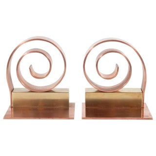 Art Deco Machine Age Copper & Brass Bookends by Walter Von Nessen for Chase Co. - a Pair For Sale