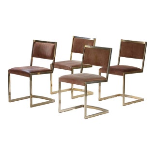 1970s Vintage Hollywood Regency Brass and Suede Dining Chairs- Set of 4 For Sale