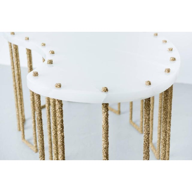 Hand Made Brass Shavings Coffee Table with Onyx Top, by Samuel Amoia For Sale In New York - Image 6 of 9