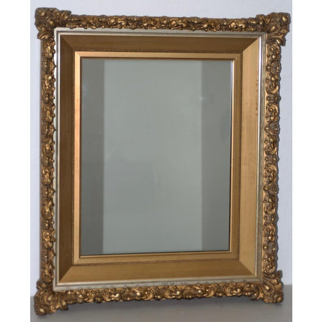 Gold Elaborate 19th Century Carved & Gilded Frame with Mirror C.1890s For Sale - Image 8 of 8