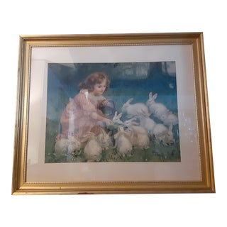 Vintage Mid-Century Gold Gilt Framed Bunnies and Girl Print For Sale