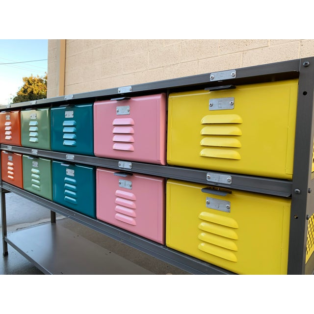 Custom Made 5 X 2 Locker Basket Unit With Multicolored Drawers and Shelf For Sale - Image 4 of 9