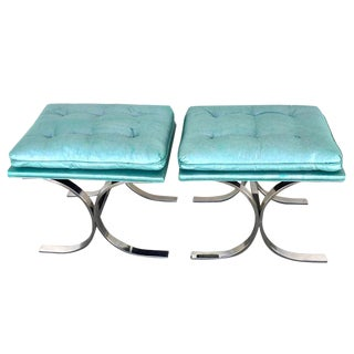 Pair of Milo Baughman Style Chrome Curule Benches For Sale